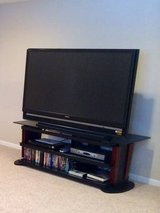"60"" SONY SXRD PROJECTION HDTV & CHERRY WOOD & BLACK GLASS STAND in Algonquin, Illinois"