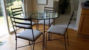 CONTEMPORARY GLASS TOP METAL PEDESTAL TABLE & MATCHING CHAIRS in Algonquin, Illinois