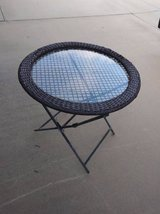 Round Glass Metal  Rattan Edging Wicker Patio Occasional table in Travis AFB, California