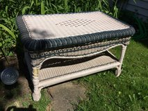 TABLE WICKER WHITE Bench Garden Outdoor Love Seat Woven Blue Porch in Naperville, Illinois