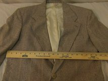 mens bloomingdales silk lined beige black checkered two button sportcoat 00161 in Huntington Beach, California