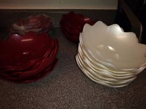 Tupperware Sheerly Elegant Scalloped Edge Bowl RED & WHITE 5443A in Travis AFB, California