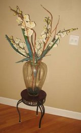 Beautiful Clear Glass Vase with Wood & Wrought Iron Stand + Flowers in Shorewood, Illinois