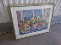 Framed Print Impressionism Potted Plants on Checkered Cloth Table in Roseville, California