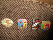 HOUSE Pins By LUCINDA!  Assortment of 4  CUTE!!      House, Flowers, Moon, Trees, Cloud,  etc. in Bellaire, Texas