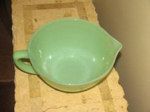 vintage fire king  anchor hocking jadeite green handled mixing  batter bowl pour in Cochran, Georgia