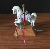 Decorative Ceramic Hand-Painted Carousel Horse on a Wooden Stand in Naperville, Illinois