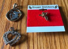 Lot of 2 Pendants Double Heart Archer with Bow and an Angel Tac Pin in Naperville, Illinois