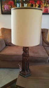 2 Matching Religious Monk Table Lamps w/ Shades - Vintage 60s/70s in Glendale Heights, Illinois