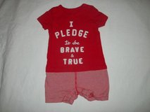 """BABY GAP Red Romper Size 12-18M """"I PLEDGE TO BE BRAVE & TRUE"""" ADORABLE in Fort Lewis, Washington"""
