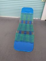 Lounge Folding Beach Chair Vtg Lawn Vinyl Tube Plastic Aluminum Blue G in Travis AFB, California