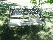 Cast Metal and Wood Bench for Patio, Lawn, etc. in Joliet, Illinois