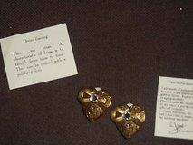 Vtg Brass Earrings By JANE!  Heart Shaped with small crystal rhinestone w/ Cards! in Bellaire, Texas