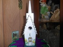 """Home Made Wood Birdhouse Church. With Steeple!  7 1/2"""" h x 3"""" w x 5 3/4"""" d"""" in Bellaire, Texas"""