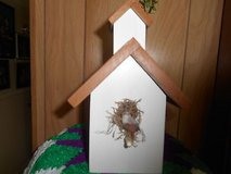 Homemade Decorated Birdhouse Church w/Steeple and Fake Bird in Nest!      Cute Home Decor! in Bellaire, Texas