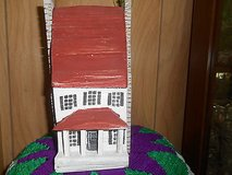 Vintage Wood Hand Carved 2-Story House w/ Porch and Chimneys in Bellaire, Texas