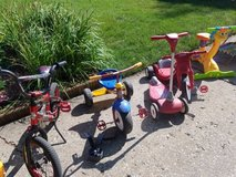 Kid bikes, big wheel and scooter in Naperville, Illinois