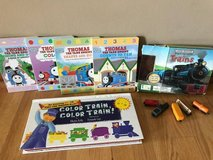 Thomas board books and other train books with toy trains in Bolingbrook, Illinois