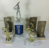 Trophy Lot of 6 Baseball Basketball Football Trophies Awards Marble Bases in Naperville, Illinois