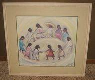 """ART - Ted DeGrazia """"LOS NINOS"""" Print - 32.5"""" x 30.5"""" Matted & Framed in Naperville, Illinois"""