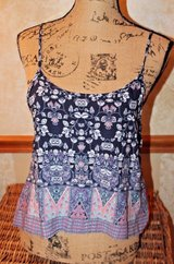 MUDD Floral Print Swing Scoop Neck Cami Rayon Top, Adjustable Straps, Small in St. Charles, Illinois