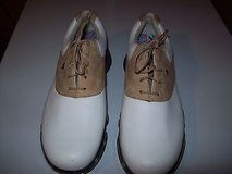 womens dryjoy golf shoes size 7.5m white and tan leather excellent condition. Retail $65 new in box in Orland Park, Illinois
