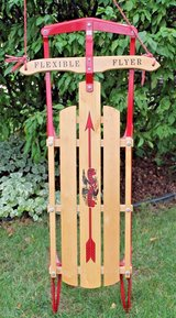 Flexible Flyer Wood Sled, Metal Runners - Porch Decor in St. Charles, Illinois