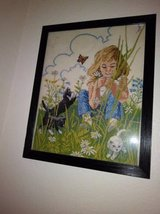 Framed Embroidery of Little Girl with Kittens and Butterfly in Travis AFB, California