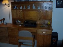 Beautiful solid Oak work desk w/locking drawers, shelves, etc. in Glendale Heights, Illinois