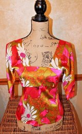Trina Turk Bright Floral Short Sleeve Fitted Silk Top, Square Neckline, Small in St. Charles, Illinois