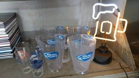 Beer Mug Neon Light with 4 Bud light pitchers and 5 pint glasses in Fort Leavenworth, Kansas