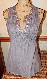 White House Black Market Gray Cotton/Silk Sleeveless Top, Sequin Beaded Neckline in Aurora, Illinois