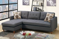 New Blue Gray Mini Linen Sofa Sectional with Pillows FREE DELIVERY in Vista, California