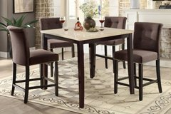 Cream Marble Finish Counter Table + 4 Linen Chairs Set FREE DELIVERY in Miramar, California