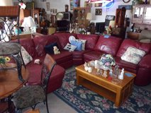 Four Piece Red Leather Sectional With Chase Lounger in Fort Riley, Kansas