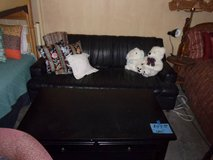 Black Leather Sofa and Black Coffee Table in Fort Riley, Kansas