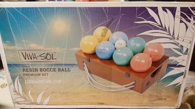 Viva Sol Resin Bocce Balls in the box - Summer is here in Plainfield, Illinois