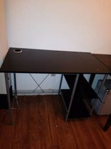 Black desk with built in cup holder and shelf in Sacramento, California