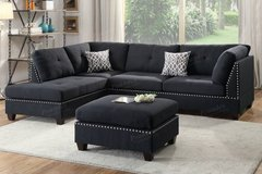 New Black Linen Sofa Sectional + Ottoman FREE DELIVERY in Oceanside, California