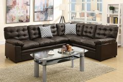 New Espresso Bonded Leather Sectional Sofa FREE DELIVERY in Oceanside, California