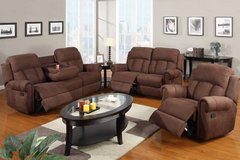 New Microfiber Sofa with Console Cup Holder Recliner FREE DELIVERY in Oceanside, California