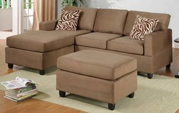 New Mini Tan Sofa Sectional with Ottoman FREE DELIVERY in Oceanside, California