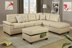 New Khaki Tan Bonded Leather Sectional Sofa and Ottoman FREE DELIVERY in Oceanside, California