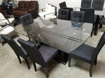 Arched Dining Glass Table with 6 Linen Chairs Set FREE DELIVERY in Oceanside, California
