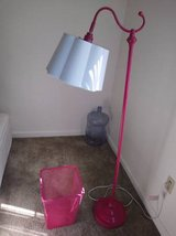 Pink stand up lamp with white shade and Pink Trash Bin Can in Roseville, California