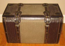 Vintage Decorative Wood & Leather Trunk in Wheaton, Illinois