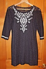 EXPRESS Black Lace Dress Blk Underslip, White Stitched Geometric Design Front, Small in Westmont, Illinois