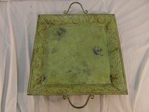 tin vintage look serving platter green painted home decor dish 32870 in Huntington Beach, California