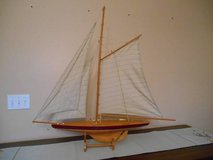 1895 Cup Racer Wooden and cloth Sail Boat w/ Stand 3 Feet Tall in Yorkville, Illinois