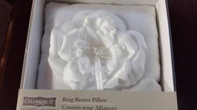 Brand new Ring Bearer white satin pillow in sealed box in Temecula, California